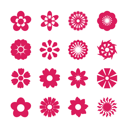 sunflower drawing: flower icon set, vector