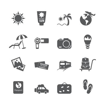 sandal tree: vacation icon set Illustration
