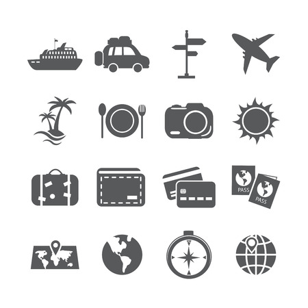 tree world tree service: travel and tourism icon set, vector eps10. Illustration