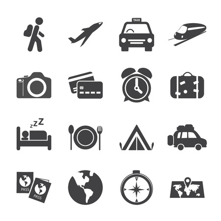 traveling and transport icon set, vector eps10. Vector