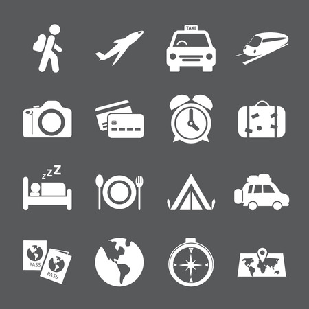 excursions: traveling and transport icon set, vector eps10. Illustration