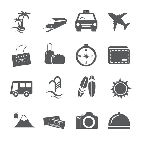 travel and vacation icon set 向量圖像