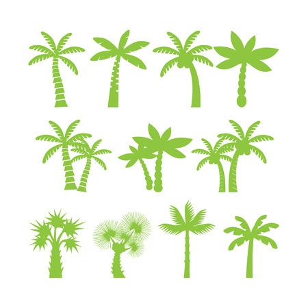 단일 개체: palm tree icon set, each icon is a single object (compound path), vector eps10 일러스트