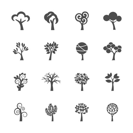 recycle tree: abstract tree icon set Illustration