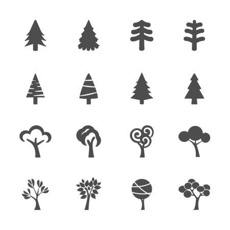 arbol de pino: árbol de conjunto de iconos Vectores