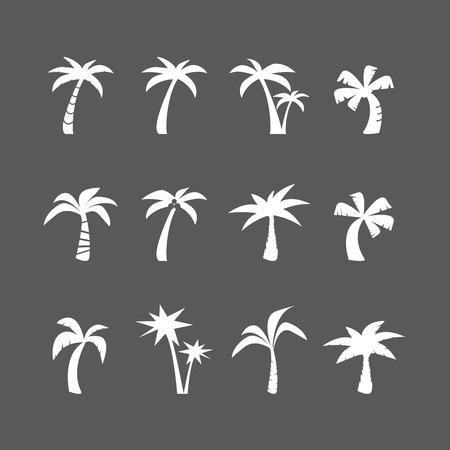 ココナッツ ツリー アイコン セット、各アイコンは 1 つのオブジェクト (複合パス)