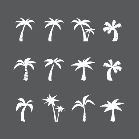 coconut palm: coconut tree icon set, each icon is a single object (compound path)