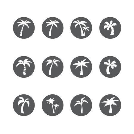 palmetto: coconut tree circle icon set, each icon is a single object (compound path)