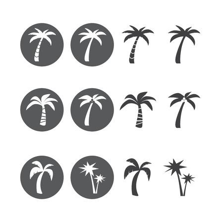 단일 개체: coconut tree circle icon set, each icon is a single object (compound path)
