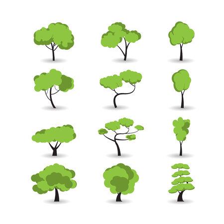 trees illustration: tree icon set