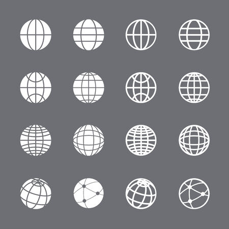 globe icon set, each icon is a single object (compound path), vector eps10