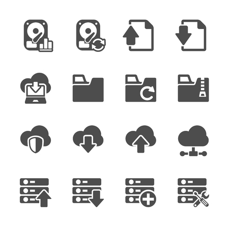 hosting and cloud computing icon set, vector eps10. Vector