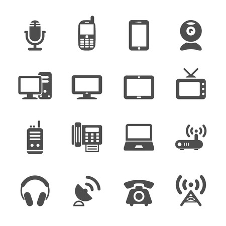 handheld device: communication device icon set, vector eps10. Illustration