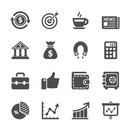 business communication: business and office work icon set Illustration