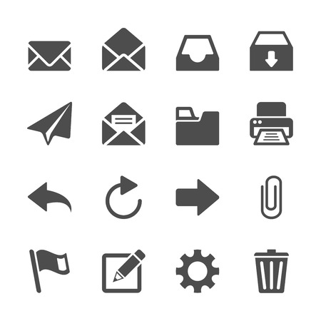 attach: email application icon set, vector eps10.