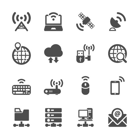network and communication device icon set, vector eps10. Vector