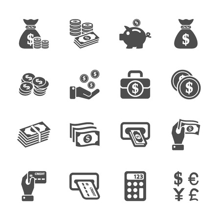 cash on hand: money icon set Illustration