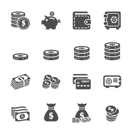 l'argent, icône, ensemble
