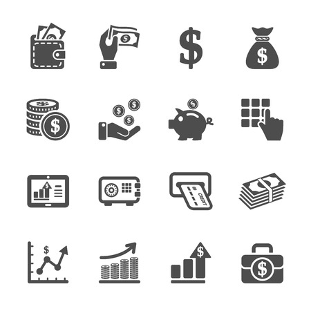 money and finance icon set Çizim