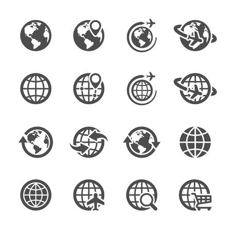 zeměkoule: globální komunikace sady ikon Ilustrace