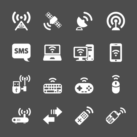 wireless communication: wireless technology communication icon set, vector eps10.