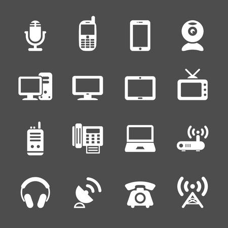 communication device icon set, vector eps10. Vector