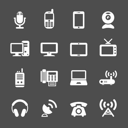 fax: communication device icon set, vector eps10. Illustration
