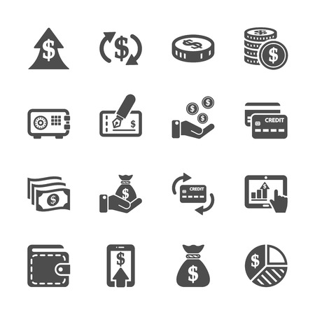 money icon set, vector eps10. Vettoriali