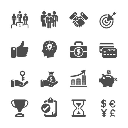 business management and human resources icon set, vector eps10.