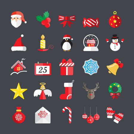 christmas angels: flat christmas icon set, vector eps10.