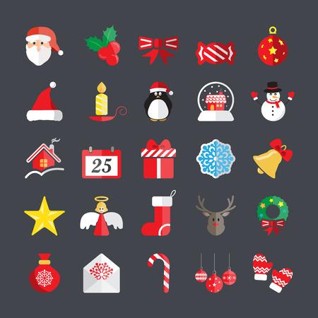 pinguinos navidenos: plana conjunto de iconos de Navidad, vector eps10. Vectores