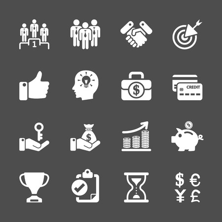 mastercard: business management and human resources icon set, vector eps10.