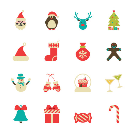 vintage christmas icon set, vector eps10.