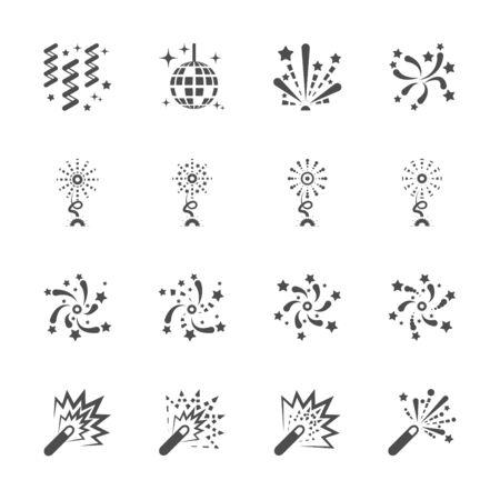 ribbin: firework icon set 5, vector eps10.