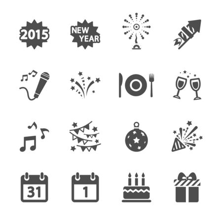 new year party icon set, vector eps10. Vector