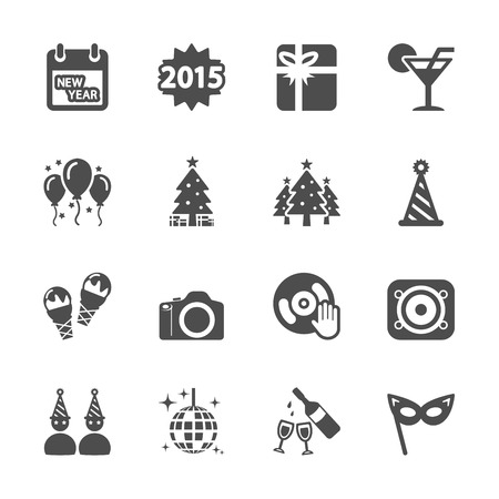 new year party icon set 2, vector eps10. Vector