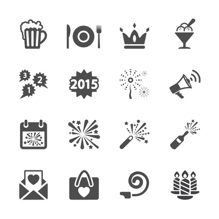 new year party icon set 3, vector eps10. Vector