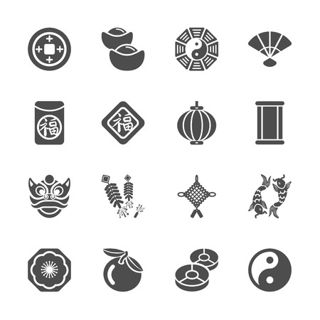 chinese new year icon set, vector