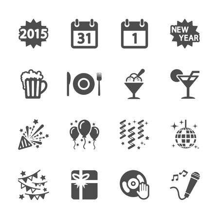 new year party icon set 4, vector