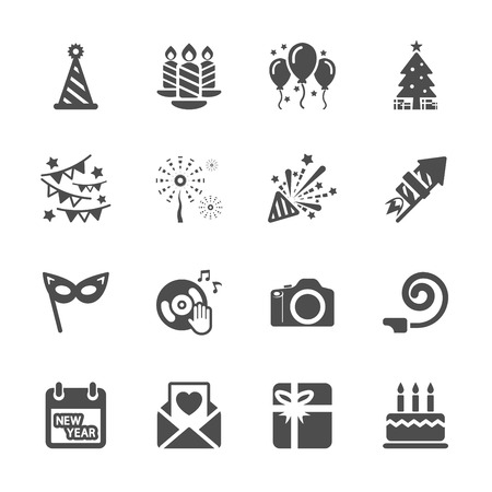 new year party icon set 5, vector eps10. Vector