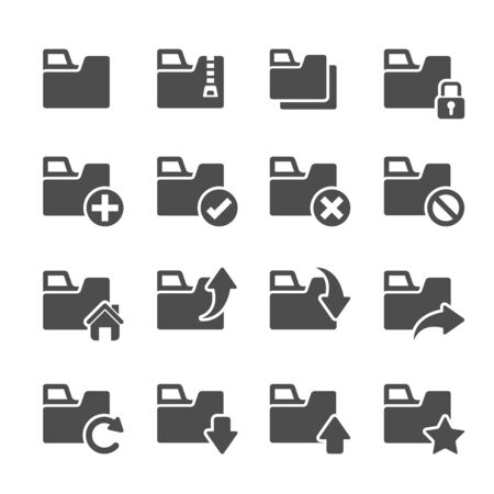 multi media: folder icon set 4, vector eps10.