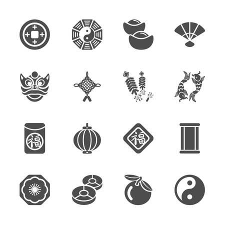 treasurer: chinese new year icon set