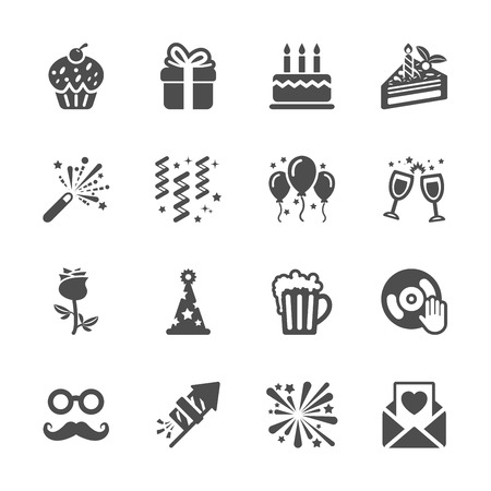 celebration and party icon set Ilustracja