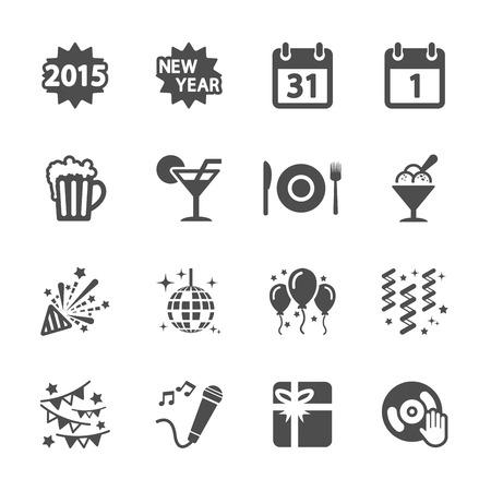 ribbin: new year party icon set