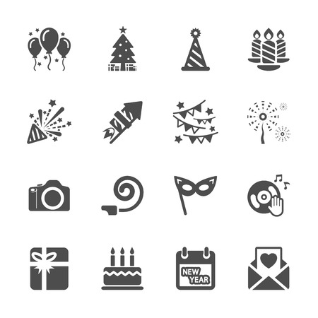 fancy pastry: new year party icon set