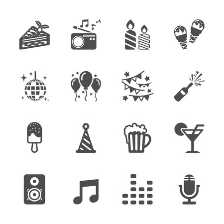 celebration and party icon set Vettoriali