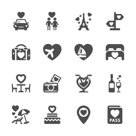 honeymoon couple: valentine and honeymoon icon set Illustration