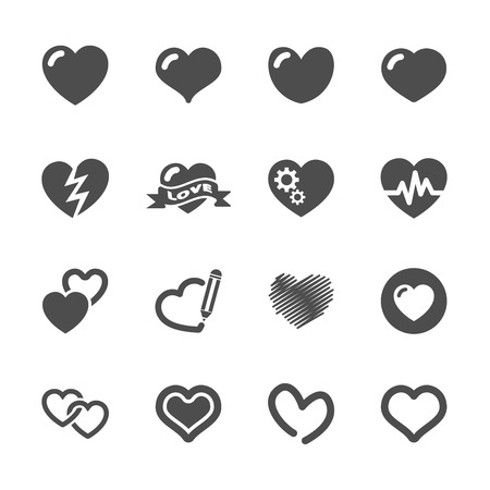 heart and valentine day icon set Vector