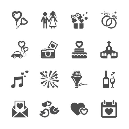 honeymoon: wedding icon set, vector eps10. Illustration