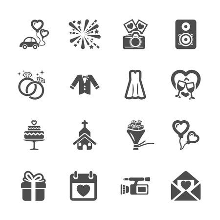 icono de la boda fijó 4 Ilustración de vector